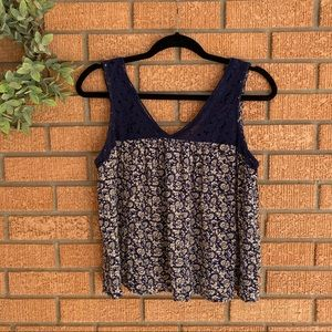Lily White Floral Crochet Lace Tank Top XLarge